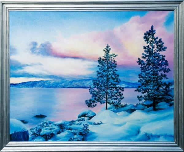 Картина «Тишина» - автор художник Сергей Елизаров, живопись, холст, масло, 40×50 см, 2019 год. Вид в багетной раме