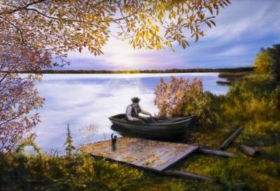 Картина «Возвращение» - автор художник Сергей Елизаров, живопись, двп, масло, 50×70 см, 2019 год.