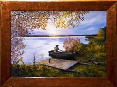 Картина «Возвращение» - автор художник Сергей Елизаров, живопись, двп, масло, 50×70 см, 2019 год. Вид в багетной раме