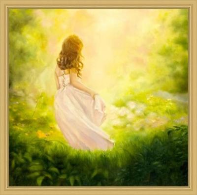 Картина «Девочка-весна» - автор художник Сергей Елизаров, живопись, двп, масло, 40×40 см, 2019 год. Вид в багетной раме.