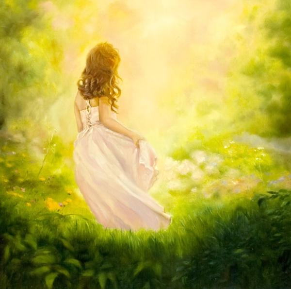 Картина «Девочка-весна» - автор художник Сергей Елизаров, живопись, двп, масло, 40×40 см, 2019 год.