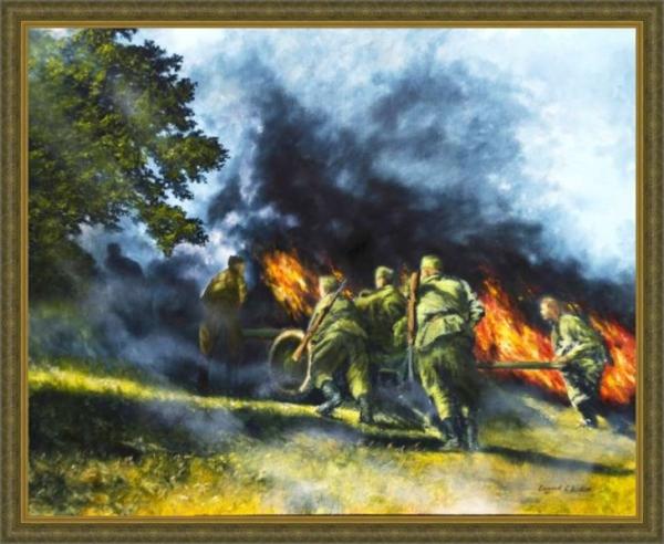 Картина «Дорогами войны» - автор художник Сергей Елизаров, живопись, двп, масло, размер - 40×50 см, 2019 год. Вид в багетной раме.