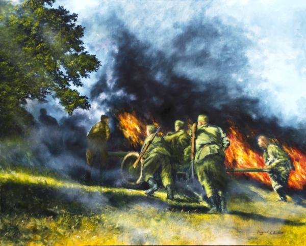 Картина «Дорогами войны» - автор художник Сергей Елизаров, живопись, двп, масло, размер - 40×50 см, 2019 год.