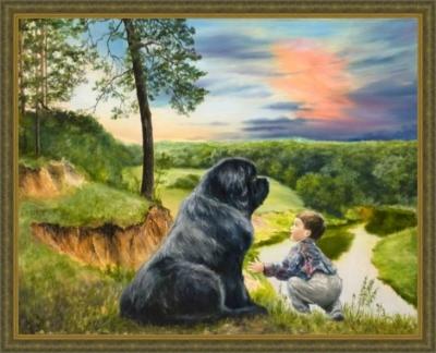 Картина «Друг» - автор художник Сергей Елизаров, живопись, холст, масло, размер - 40×50 см, 2019 год. Вид в багетной раме.