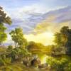Картина «Итальянский пейзаж» - автор художник Сергей Елизаров, живопись, холст, масло, 50×70 см, 2018 год.