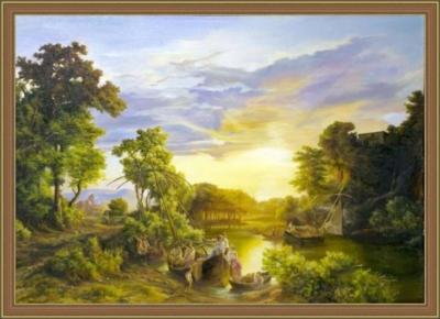 Картина «Итальянский пейзаж» - автор художник Сергей Елизаров, живопись, холст, масло, 50×70 см, 2018 год. Вид в багетной раме.