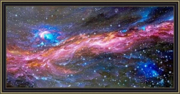 Картина «К звездам!» - автор художник Сергей Елизаров, живопись, холст, масло, размер - 30×60 см, 2019 год. Вид в багетной раме.