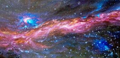 Картина «К звездам!» - автор художник Сергей Елизаров, живопись, холст, масло, размер - 30×60 см, 2019 год.