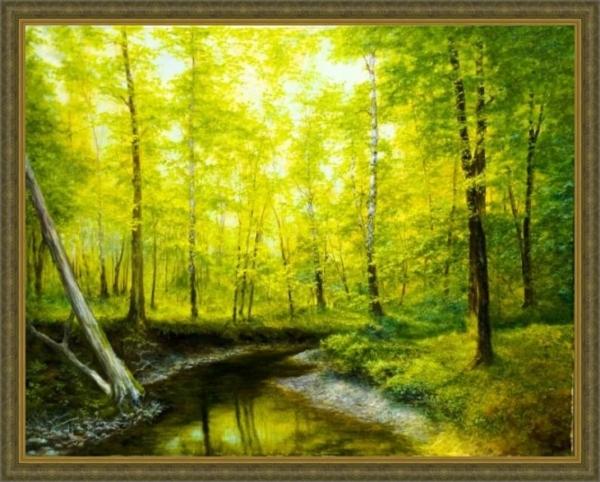 Картина «Лес весной» Вид в багетной раме