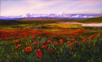 Картина «Маки» - автор художник Сергей Елизаров, живопись, двп, масло, 34×54 см, 2019 год.