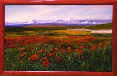 Картина «Маки» - автор художник Сергей Елизаров, живопись, двп, масло, 34×54 см, 2019 год. Вид в багетной раме