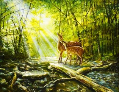 Картина «Солнечное утро» - автор художник Сергей Елизаров, живопись, холст, масло, 40×50 см, 2019 год.