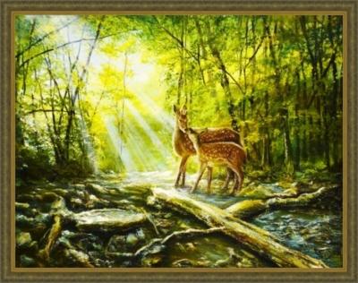 Картина «Солнечное утро» - автор художник Сергей Елизаров, Вид в багетной раме