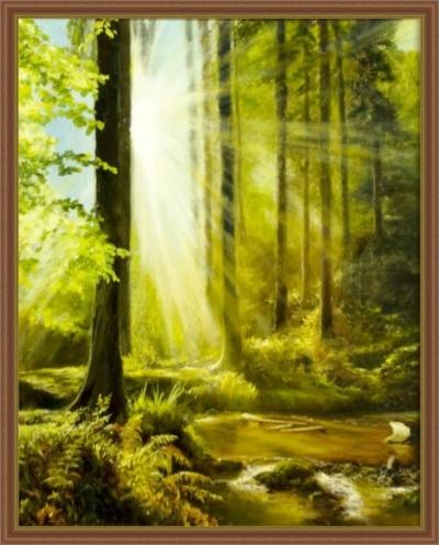 Картина «Утро в лесу» - автор художник Сергей Елизаров, вид в раме
