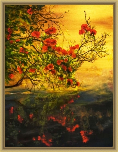 Картина маслом на холсте «Ветка» - автор художник Сергей Елизаров, живопись, 30×40 см, 2019 год.