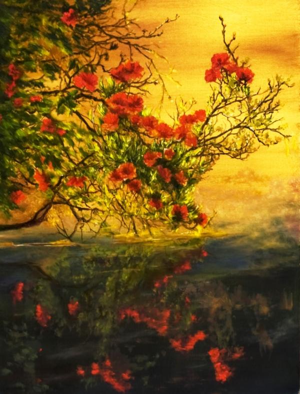 Картина «Ветка» - автор художник Сергей Елизаров, живопись, холст, масло, 30×40 см, 2019 год.