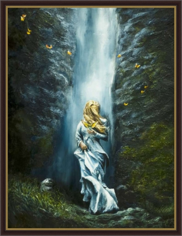 Картина «Водопад» - автор художник Сергей Елизаров, живопись, холст, масло, 40×30 см, 2019 год. Вид в багетной раме