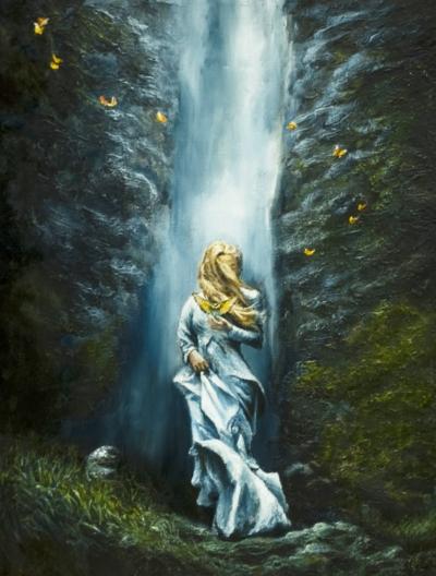 Картина «Водопад» - автор художник Сергей Елизаров, живопись, холст, масло, 40×30 см, 2019 год.