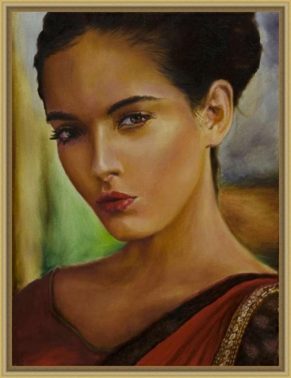 Картина «Восточная женщина» - автор художник Сергей Елизаров, живопись, холст, масло, 40×30 см, 2019 год. Вид в багетной раме