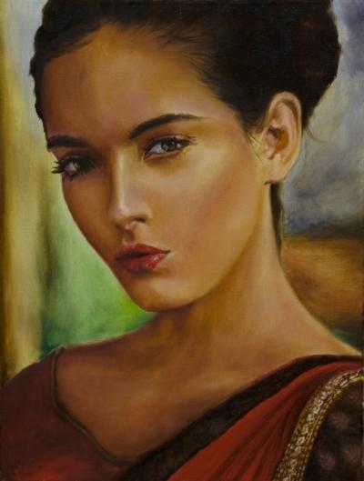 Картина «Восточная женщина» - автор художник Сергей Елизаров, живопись, холст, масло, 40×30 см, 2019 год.