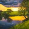 Картина «Закат» - автор художник Сергей Елизаров, живопись, двп, масло, 30×40 см, 2019 год.