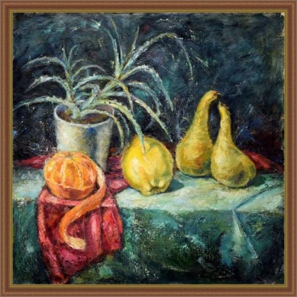 Картина «Натюрморт с грушами» - автор художник Ольга Полякова, Вид в обрамлении.