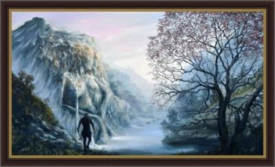 Картина «ВИКИНГ» - автор художник Сергей Елизаров, Вид в багетной раме.